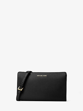 Michael Kors Jet Set Large Leather Crossbody Clutch - BLACK - STYLE