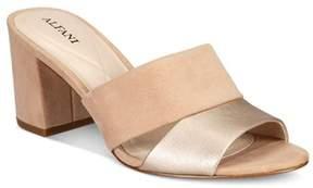 Alfani Womens Rochele Leather Open Toe Casual Mule Sandals.