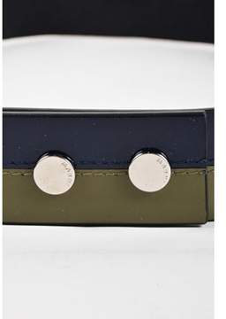 Marni Nwt Army Green Navy Blue Patent Leather Elastic Waist Belt Sz 80.