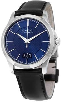 Gucci G-Timeless Automatic Blue Diamond Pattern Dial Black Calf Leather Strap Men's Watch YA126443