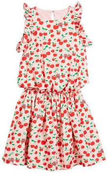 Fendi Cherry-Print Sleeveless Ruffle Dress, Size 3-5