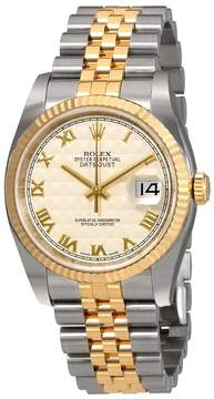 Rolex Oyster Perpetual Datejust 36 Ivory Pyramid Dial Stainless Steel and 18K Yellow Gold Jubilee Bracelet Automatic Men's Watch