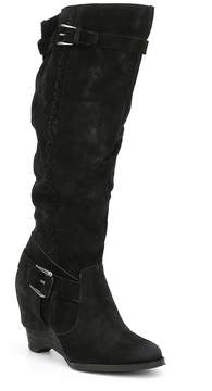 Naughty Monkey Double Up Suede Wedge Boots