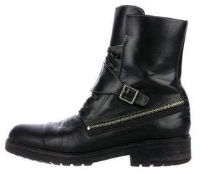 Donald J Pliner Leather Zip-Trimmed Boots