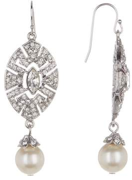 Ben-Amun Pave Crystal & Faux Pearl Drop Earrings