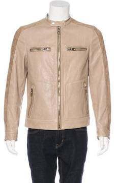 Salvatore Ferragamo Leather & Suede Café Racer Jacket