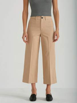 Frank and Oak High Waist Wide Leg Cropped Pant in Nomad
