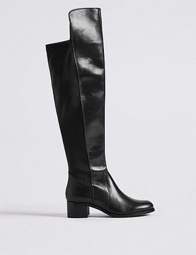 Marks and Spencer Leather Block Heel Over the Knee Boots