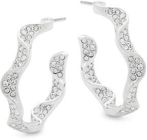 Adriana Orsini Women's Crystal Ruffle Hoop Earrings
