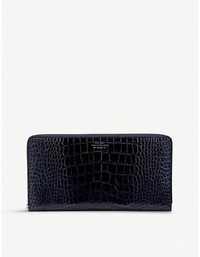Smythson Navy Blue Mara Crocodile Embossed Leather Travel Wallet
