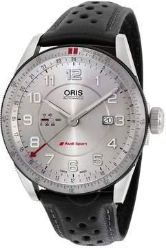 Oris Artix Audi Sport GMT Automatic Silver Dial Black Leather Men's Watch 747-7701-4461LS