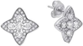 Crislu CZ Pave Halo Star Stud Earrings