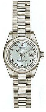 Rolex Lady-Datejust 26 Blue Dial Platinum President Automatic Ladies Watch 179166BLRP