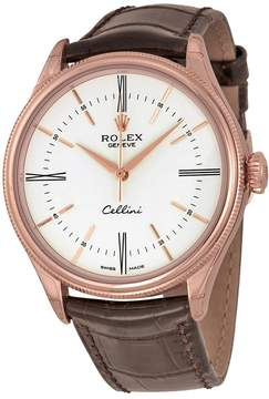 Rolex Cellini White Dial 18K Rose Gold Leather Men's Watch