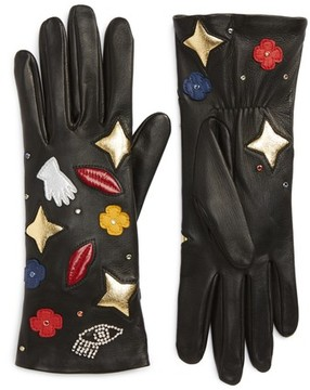 Agnelle Women's Funny Patches Lambskin Leather Gloves