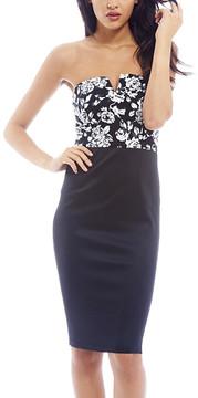 AX Paris Black & White Floral Notch Neck Bodycon Dress - Women