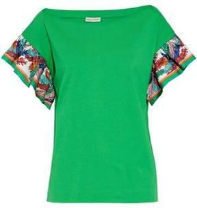 Emilio Pucci Printed Silk Satin-Trimmed Cotton-Jersey T-Shirt
