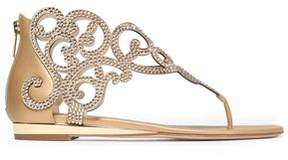 Rene Caovilla Rene' Caovilla Crystal-Embellished Satin And Metallic Leather Sandals