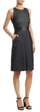 Akris Punto Faux Leather and Denim Shift Dress