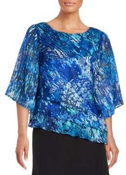 Alex Evenings Abstract-Print Triple Tier Blouse
