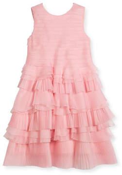 Oscar de la Renta Organza Pleated Ruffle Dress, Size 4-14