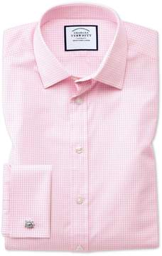 Charles Tyrwhitt Extra Slim Fit Small Gingham Light Pink Cotton Dress Shirt French Cuff Size 14.5/33