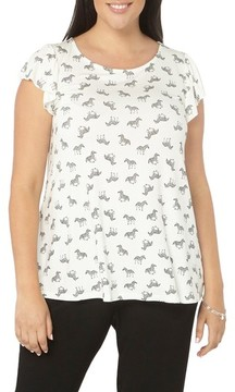 Evans Plus Size Women's Zebra Print Top