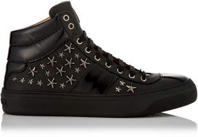 Jimmy Choo BELGRAVIA Black Nappa Sneakers with Gunmetal Stars