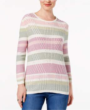 Alfred Dunner Winter Garden Textured Striped Sweater