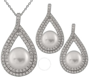 Bella Pearl Sterling Silver Pearl Earring and Pendant Set