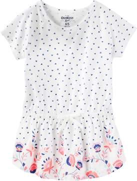 Osh Kosh Oshkosh Bgosh Girls 4-12 Heart Print Slubbed Tunic Top