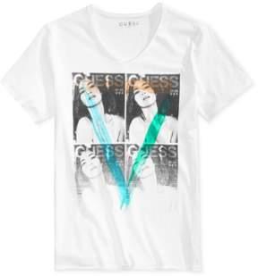 GUESS Mens Mag V Neck Graphic T-Shirt White 2XL