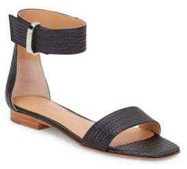 Halston Embossed Leather Sandals