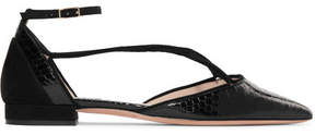 Giorgio Armani Suede-trimmed Python Point-toe Flats - Black
