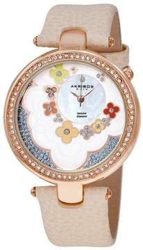 Akribos XXIV Lady Diamond Flower Dial Swiss Quartz Beige Leather Strap Ladies Watch