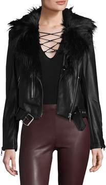 Bagatelle Women's Faux Leather Biker Jacket with Detachable Faux Fur Collar