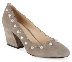 Botkier New York Holly Suede and Faux Pearl Pumps