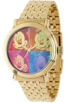 Disney Mickey Mouse Men's Vintage Alloy Case Watch, Gold Bracelet