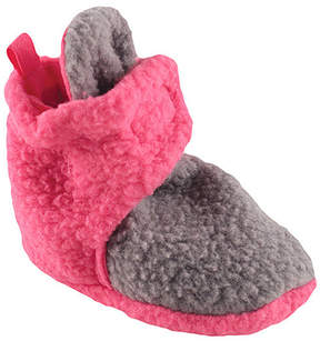 Luvable Friends Gray & Pink Fleece Booties - Girls