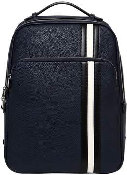 Bally Pebbled Leather Backpack W/ Stripes