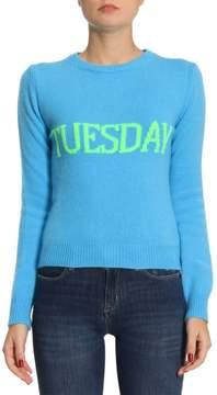 Alberta Ferretti Sweater Slim Sweater Rainbow Week In Virgin Wool Blend With Tuesday Print