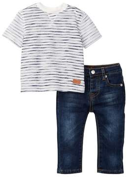 7 For All Mankind Stripe Tee & Jean 2-Piece Set (Baby Boys)