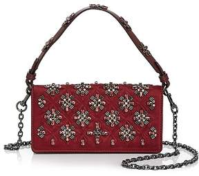 Tory Burch Cleo Embellished Fold-Over Satin Clutch - IMPERIAL GARNET/GUNMETAL - STYLE