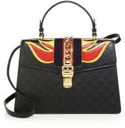 Gucci Sylvie Medium GG Leather Top-Handle Satchel - BLACK-MULTI - STYLE
