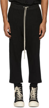 Rick Owens Black Drawstring Cropped Lounge Pants