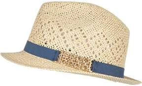 River Island Womens Cream straw trilby hat