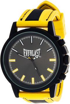 Everlast Mens Yellow/Black Silicone Strap Sport Watch