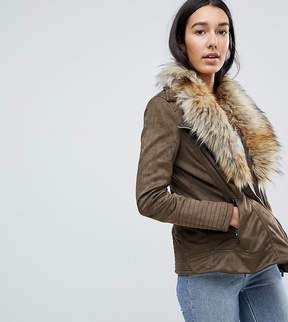 Brave Soul Tall Bellini Jacket With Deep Faux Fur Collar