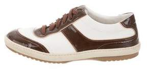 Louis Vuitton Patent Leather-Trimmed Low-Top Sneakers