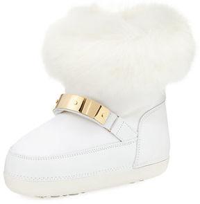 Giuseppe Zanotti Kids' Snow Laceless Fur Boot, Youth